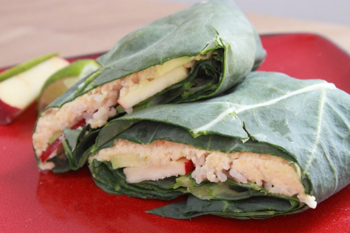 Raw Vegan Recipes: Hummus Apple Collard Wrap