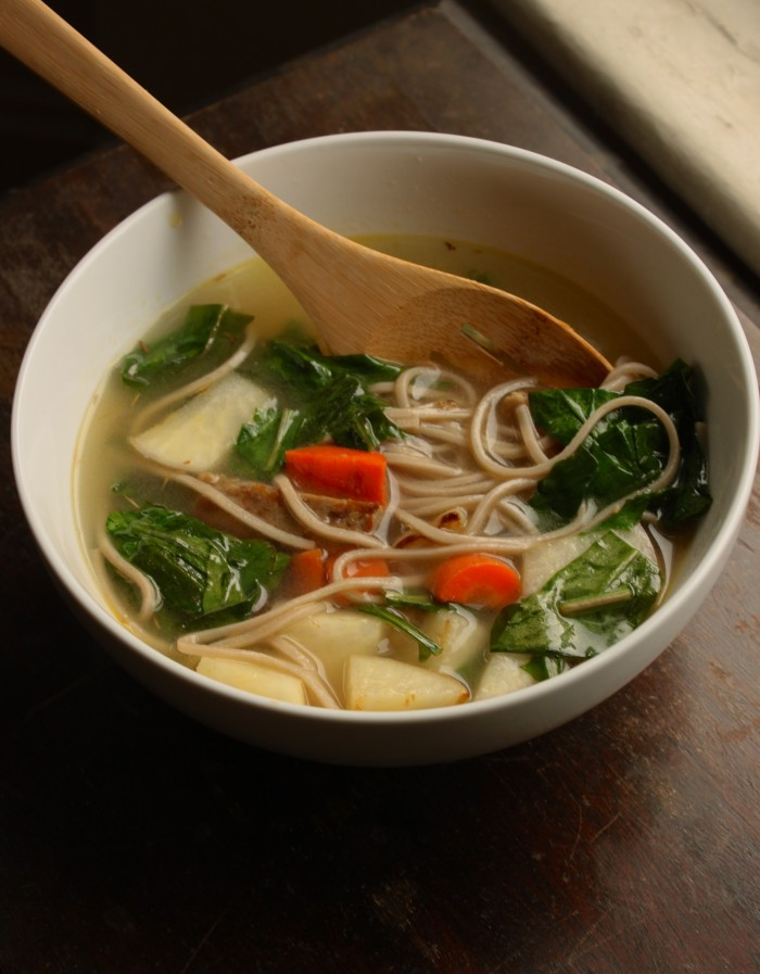 Vegan Soup Recipes: Soba Noodle and Seitan Veggie Soup - Peaceful ...